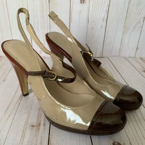 FRANCO SARTO Nellie slingback heels, brown and tan